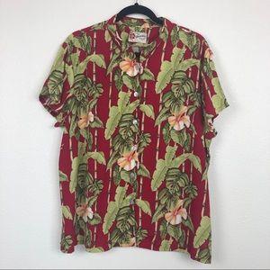 Hilo Hattie Hawaiian Red Button Down Blouse